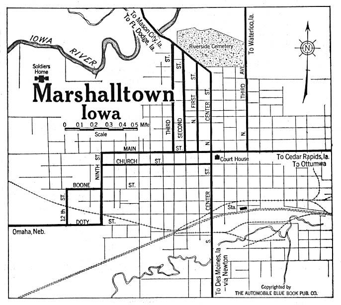 Mapa de la Ciudad de Marshalltown, Iowa, Estados Unidos 1919
