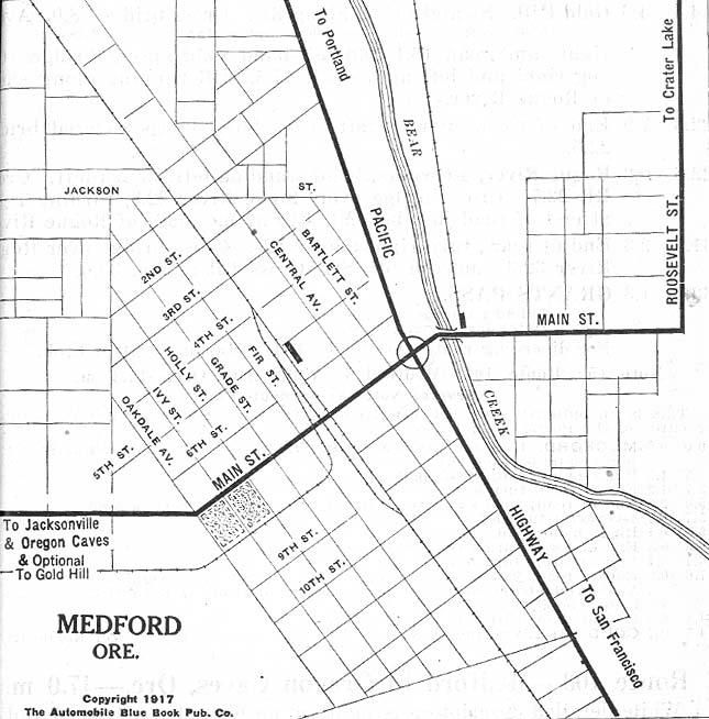 Medford City Map, Oregon, United States 1917