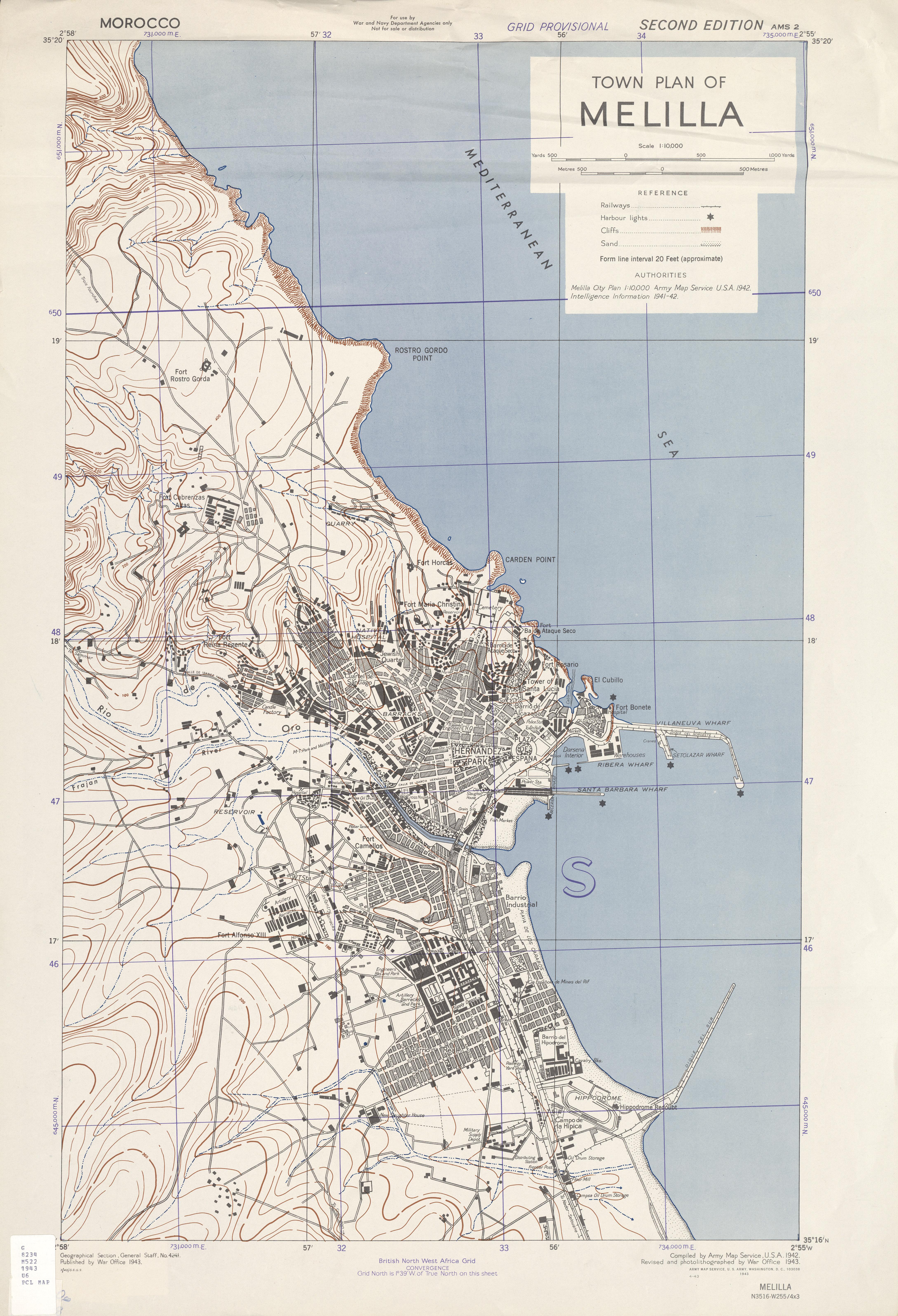 Mapa de la Ciudad de Melilla 1943