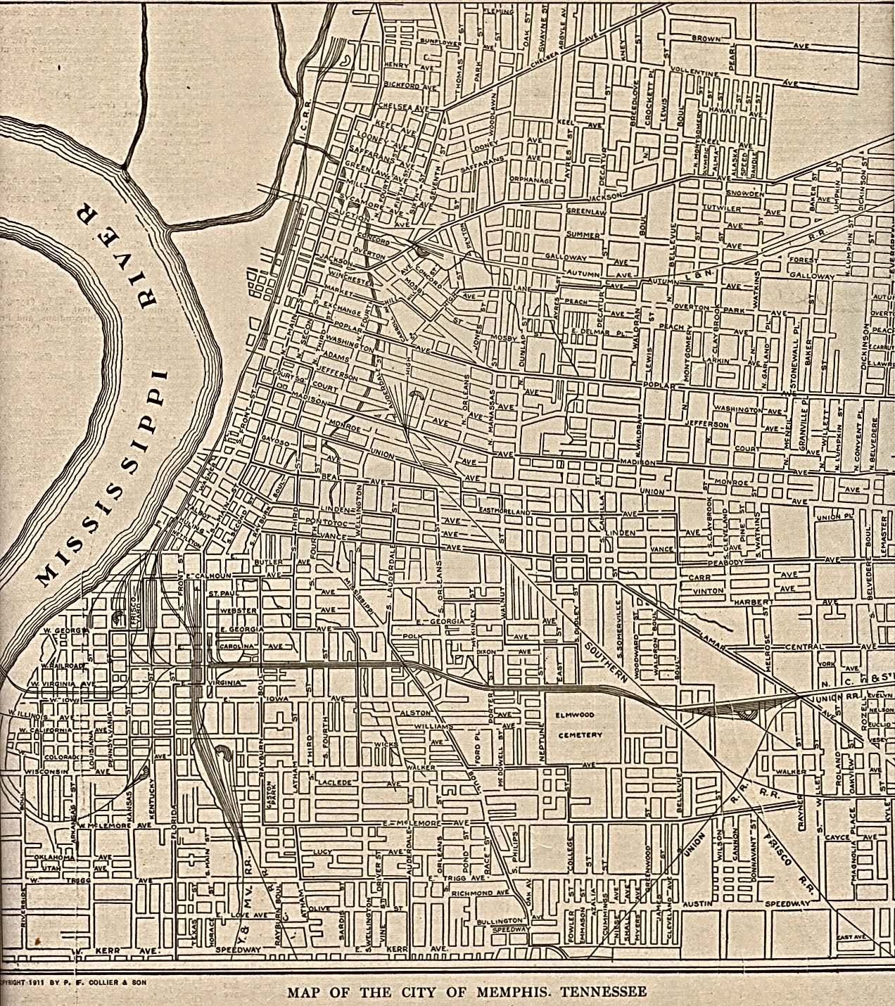 Memphis City Map, Tennessee, United States 1911