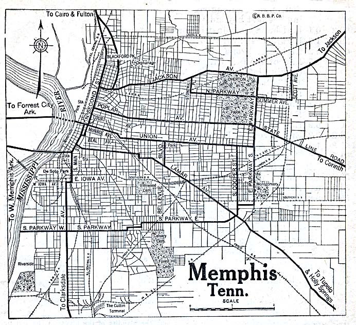 Memphis City Map, Tennessee, United States 1920
