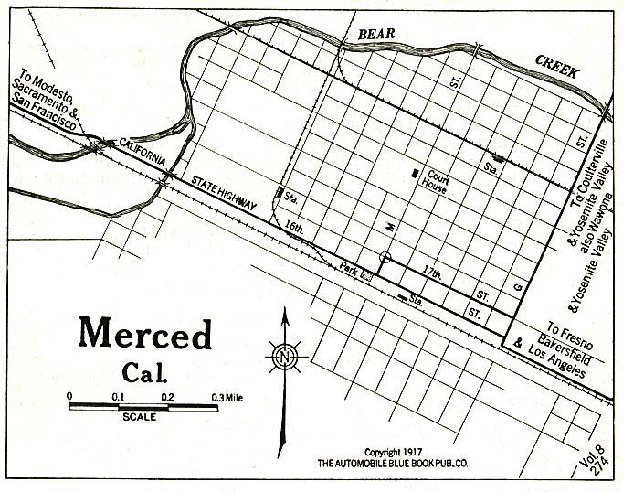 Mapa de la Ciudad de Merced, California, Estados Unidos 1917