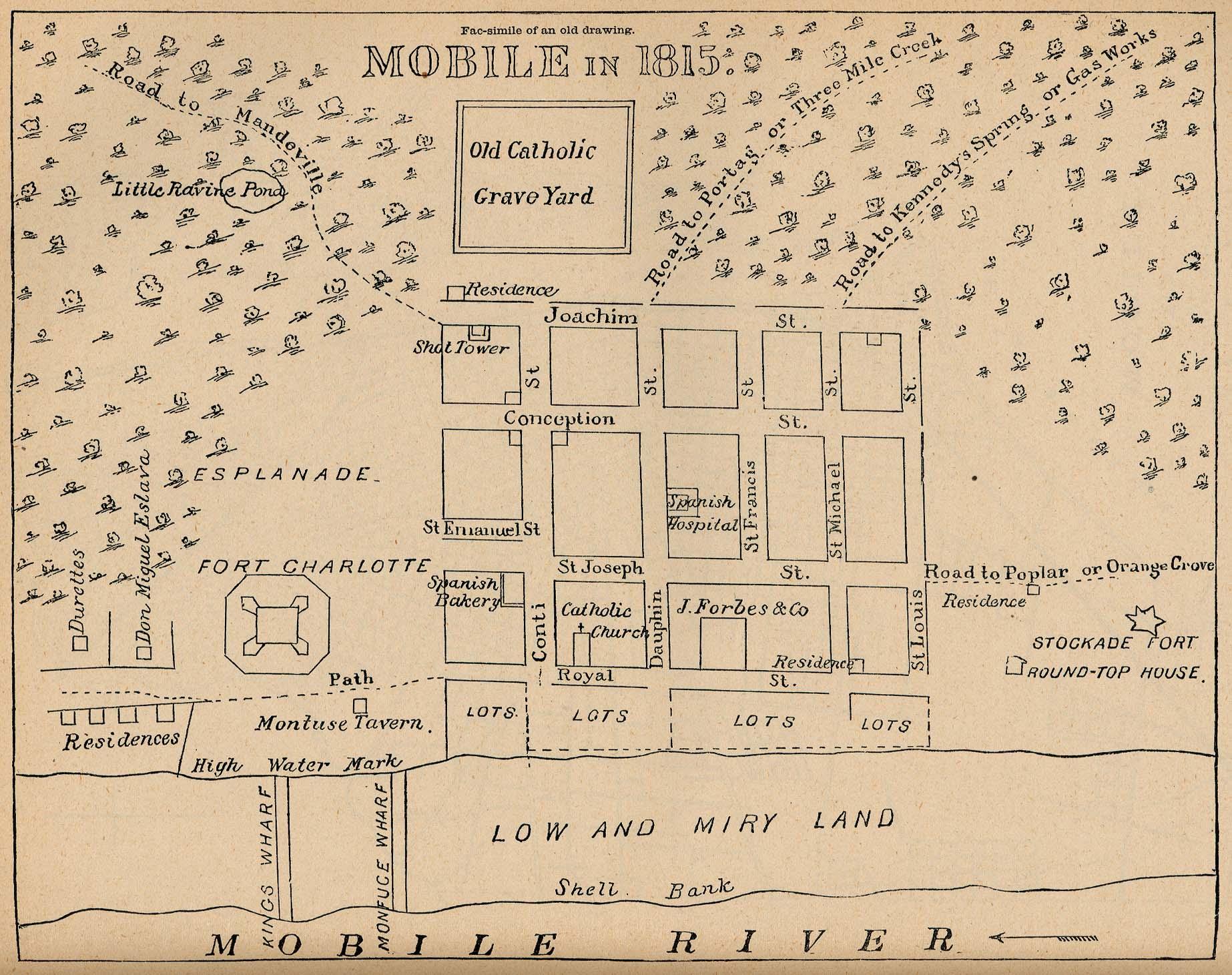 Mapa de la Ciudad de Mobile, Alabama, Estados Unidos 1815