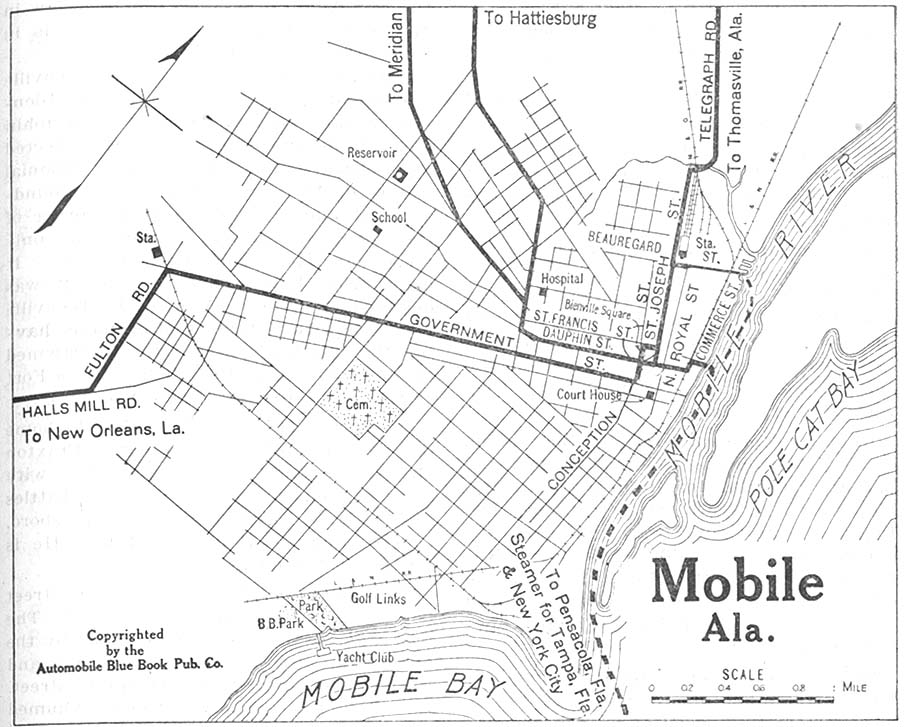 Mobile City Map, Alabama, United States 1919