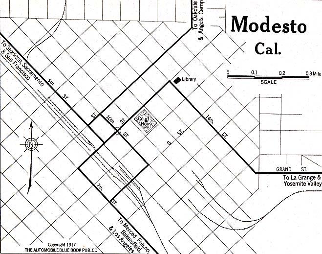 Mapa de la Ciudad de Modesto, California, Estados Unidos 1917