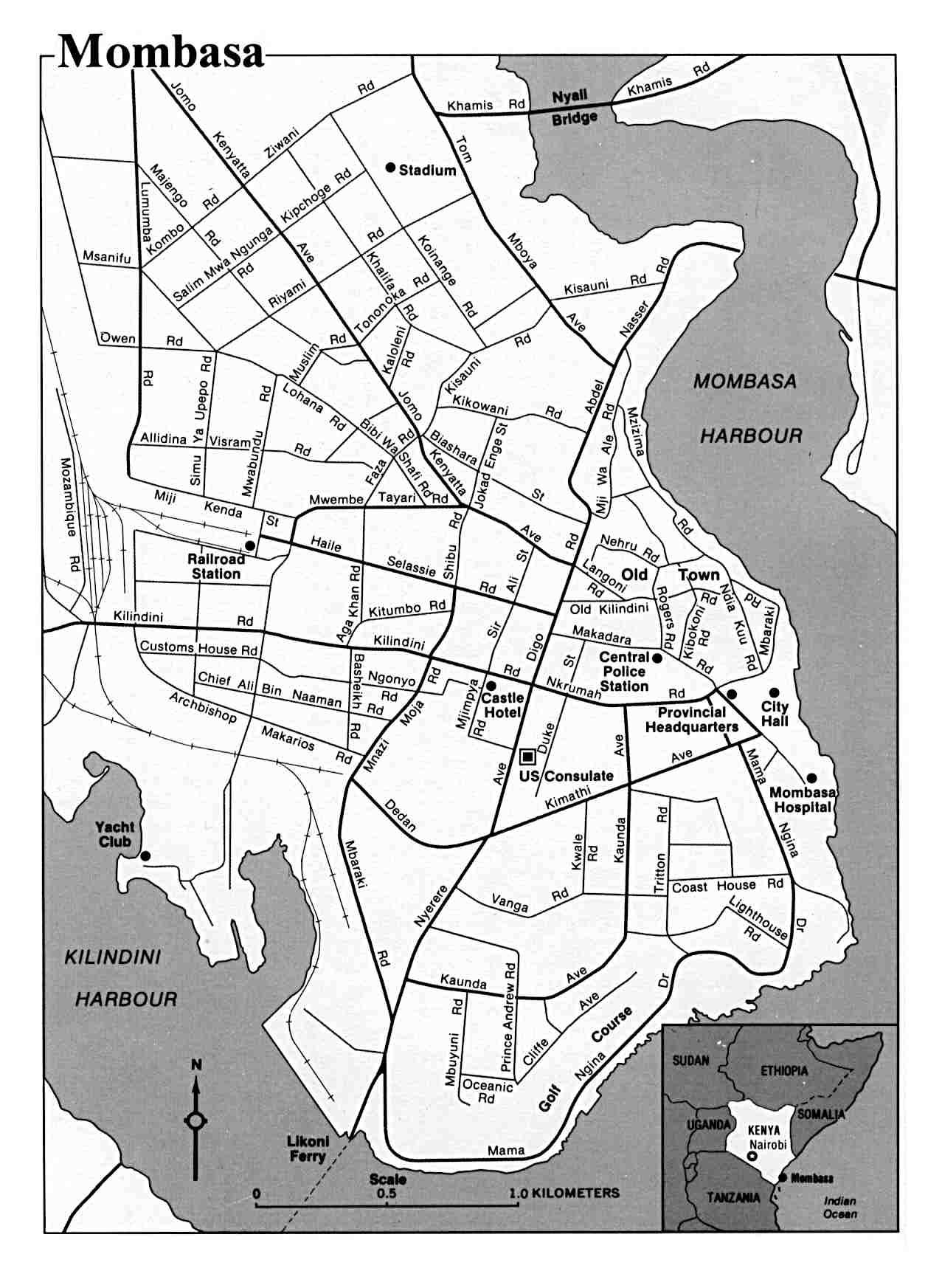 Mapa de la Ciudad de Mombasa, Kenia