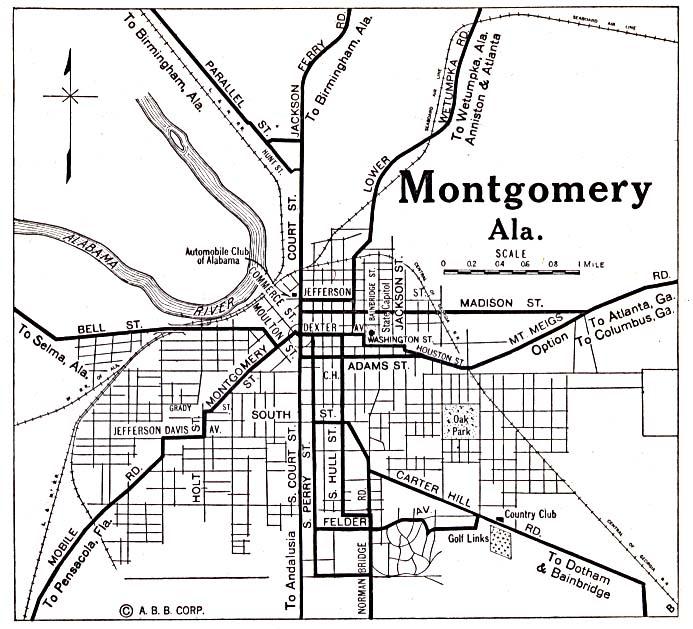 Montgomery City Map, Alabama, United States 1920