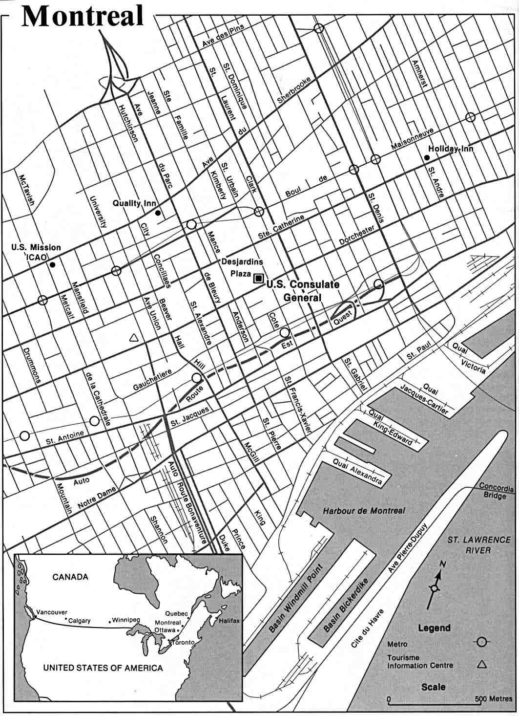 Mapa de la Ciudad de Montreal, Québec, Canadá