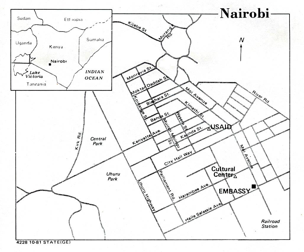 Mapa de la Ciudad de Nairobi, Kenia