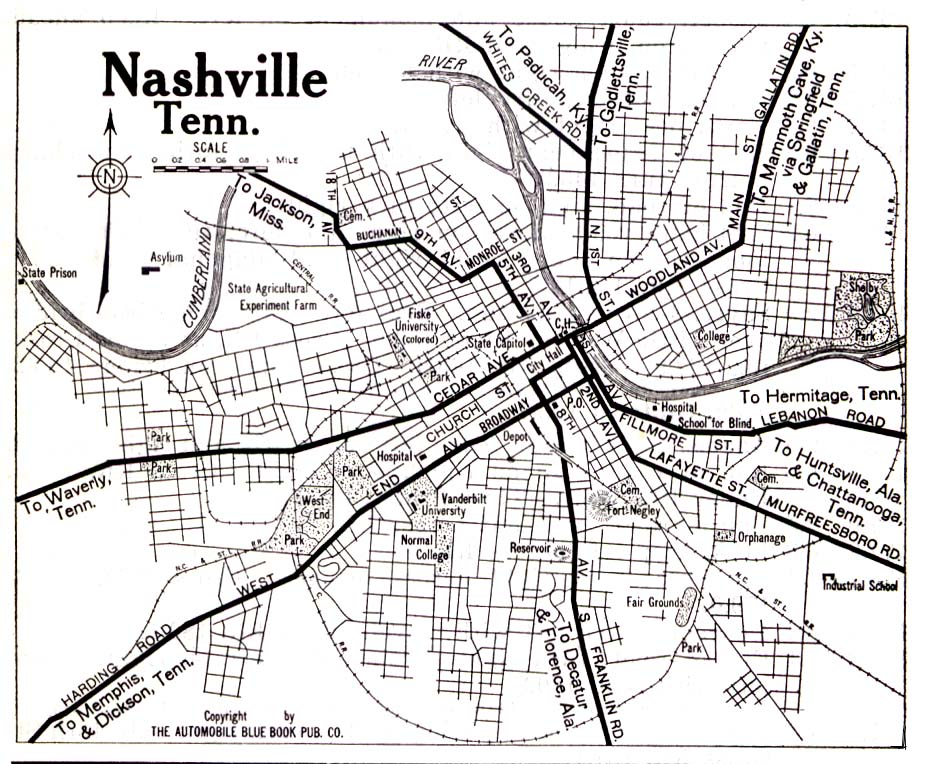 Nashville City Map, Tennessee, United States 1919