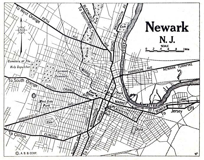 Mapa de la Ciudad de NeGuerrak, Nueva Jersey, Estados Unidos 1920