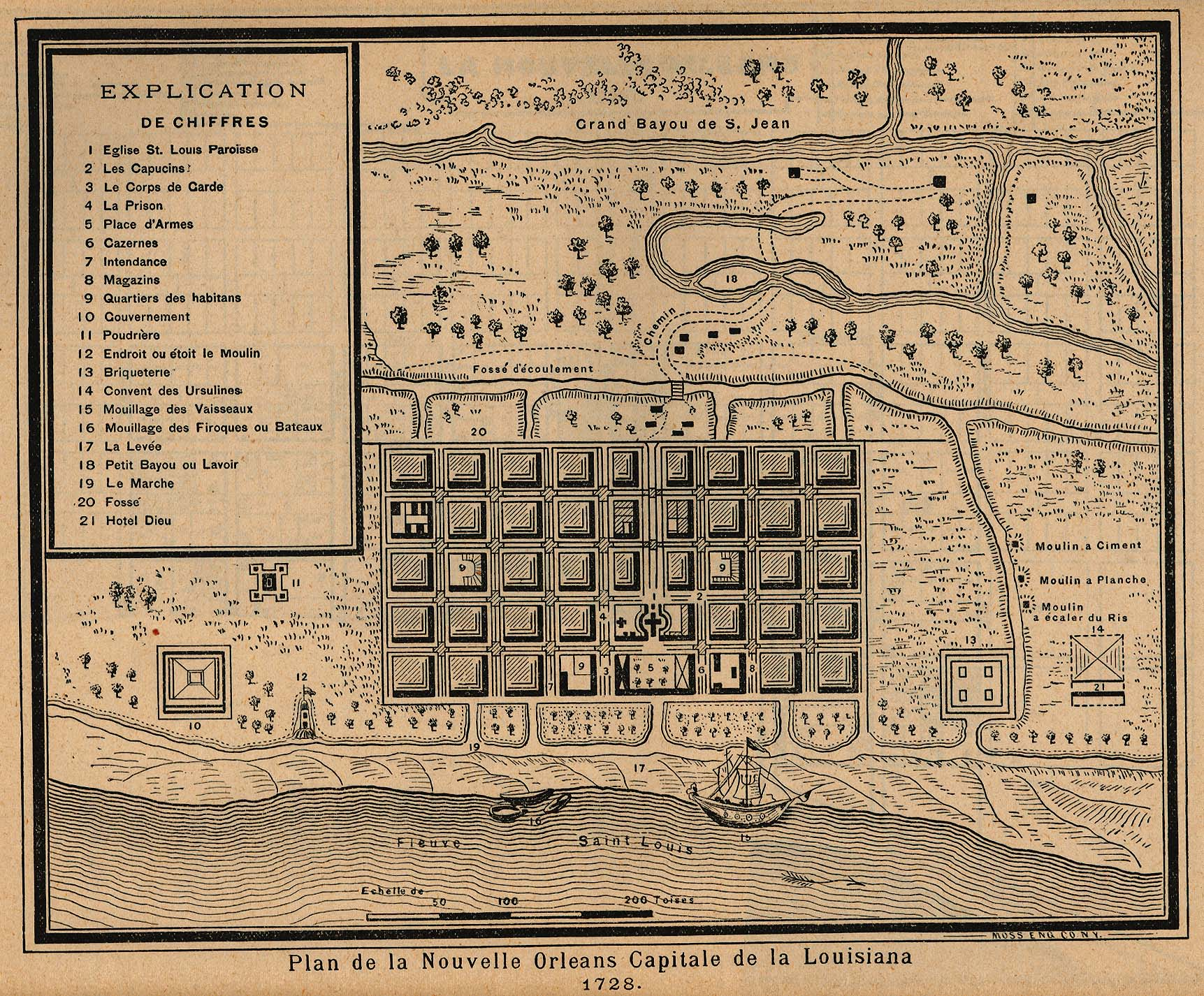 New Orleans City Map, Louisiana, United States 1728