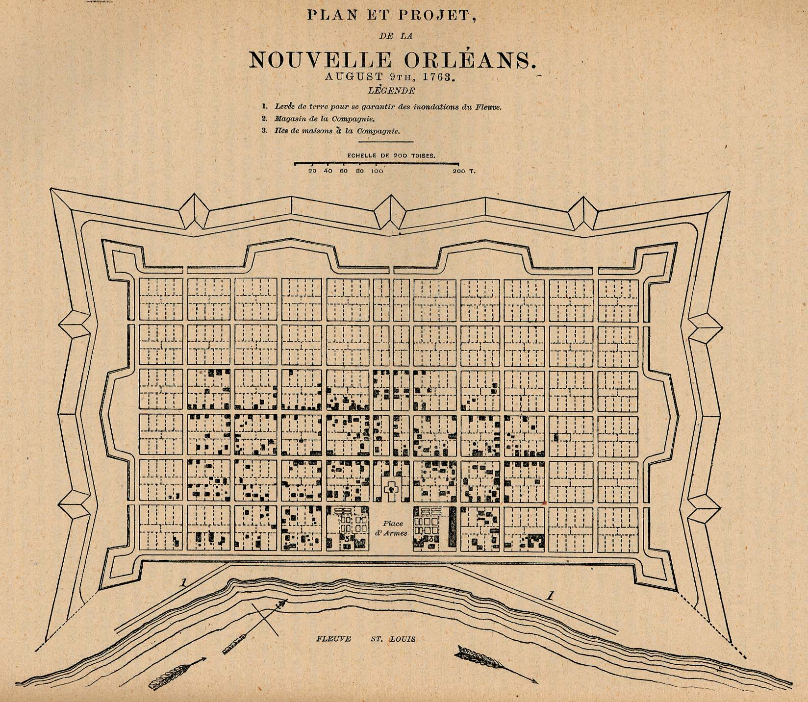 Mapa de la Ciudad de Nueva Orleans, Luisiana, Estados Unidos 1763