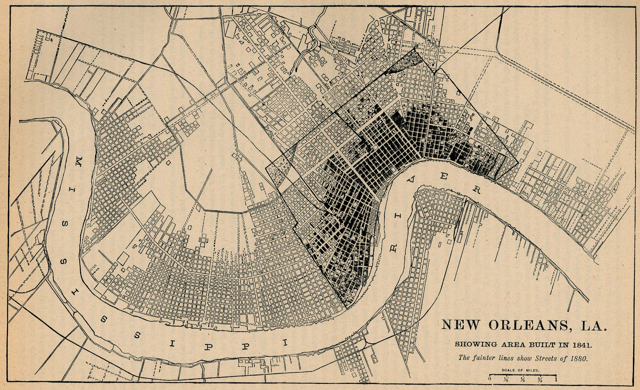 New Orleans City Map, Louisiana, United States 1841