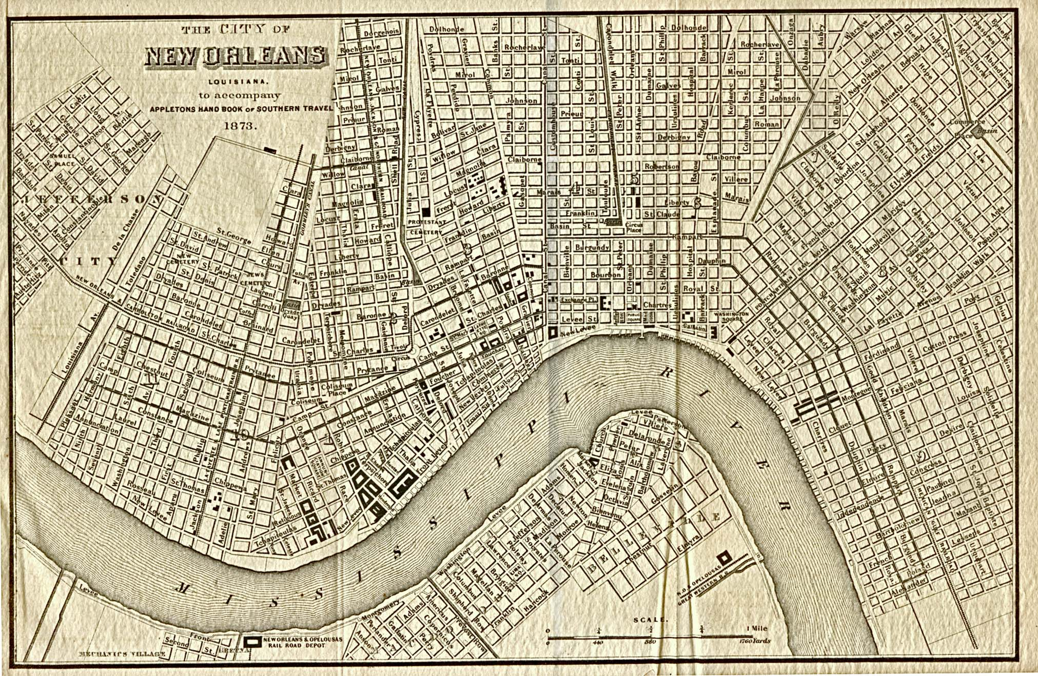 Mapa de la Ciudad de Nueva Orleans, Luisiana, Estados Unidos 1873