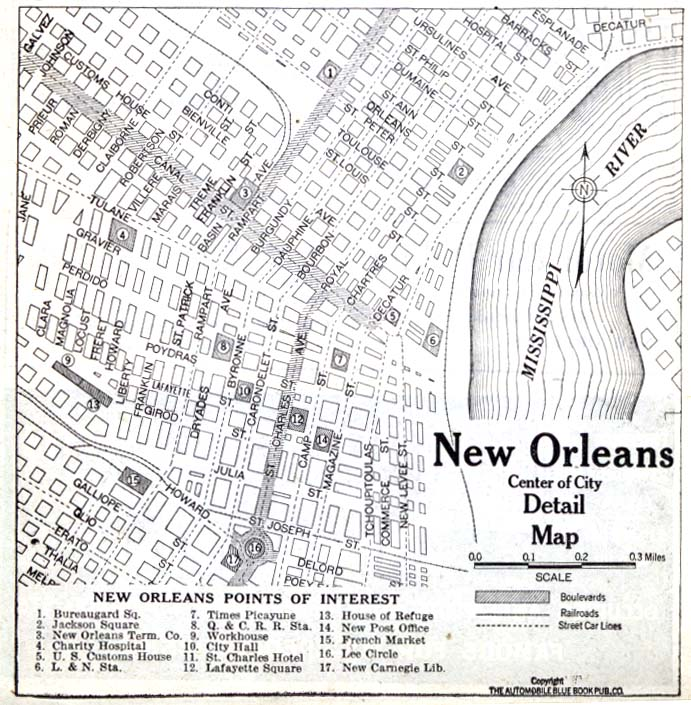 New Orleans City Map, Louisiana, United States 1920