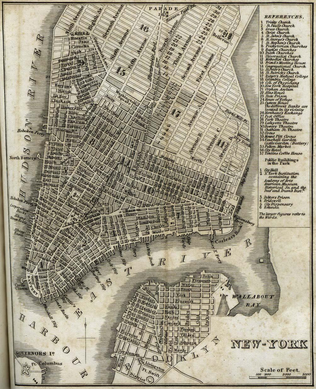 Mapa de la Ciudad de Nueva York 1842