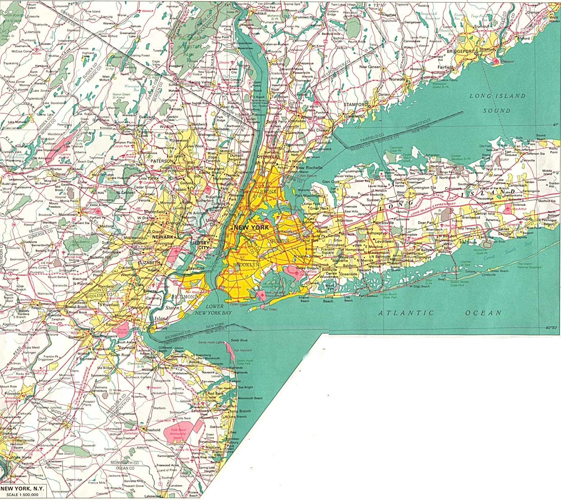 New York City Map, United States