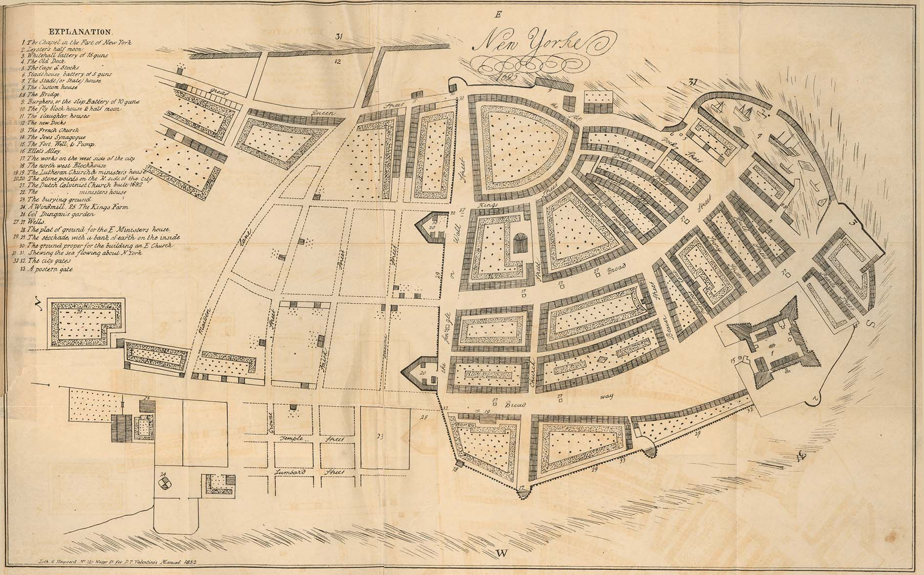 New York City Map, New York, United States 1695