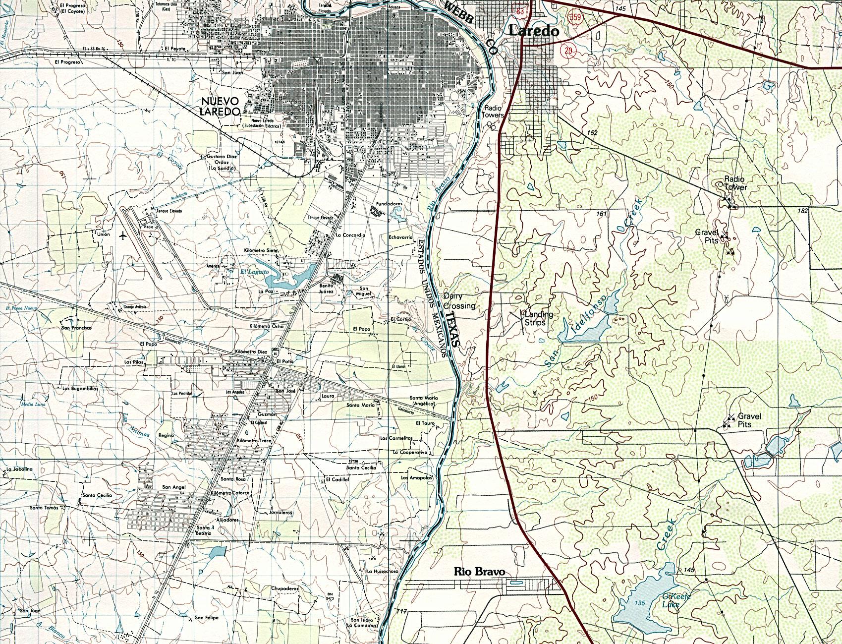 Nuevo Laredo City Map, Mexico