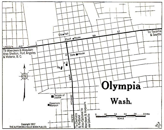 Olympia City Map, Washington, United States 1917
