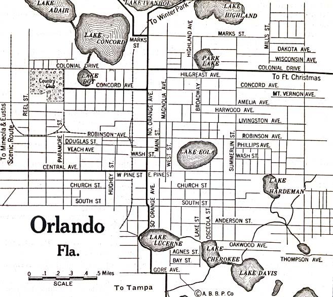 Mapa de la Ciudad de Orlando, Florida, Estados Unidos 1920