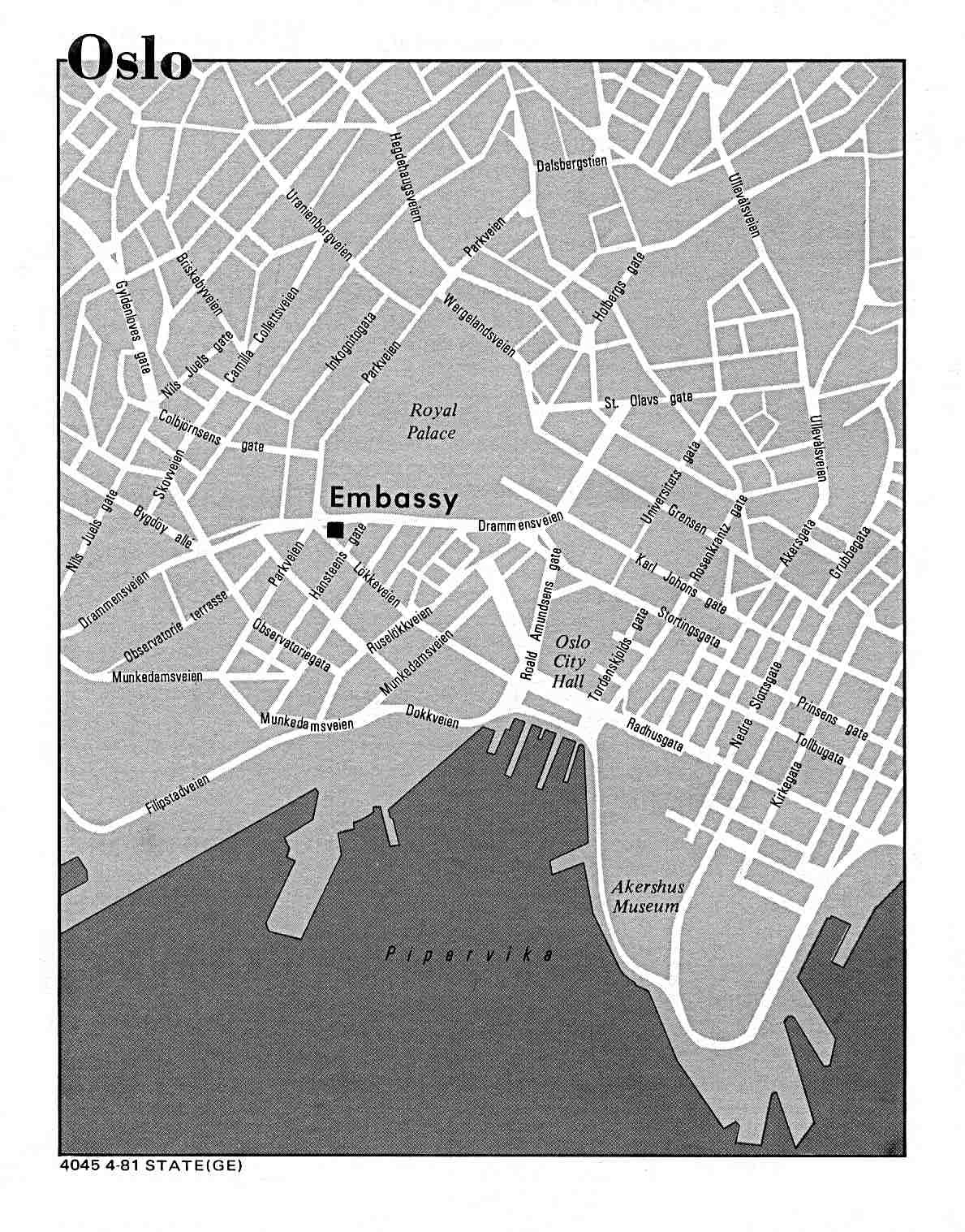 Mapa de la Ciudad de Oslo, Noruega