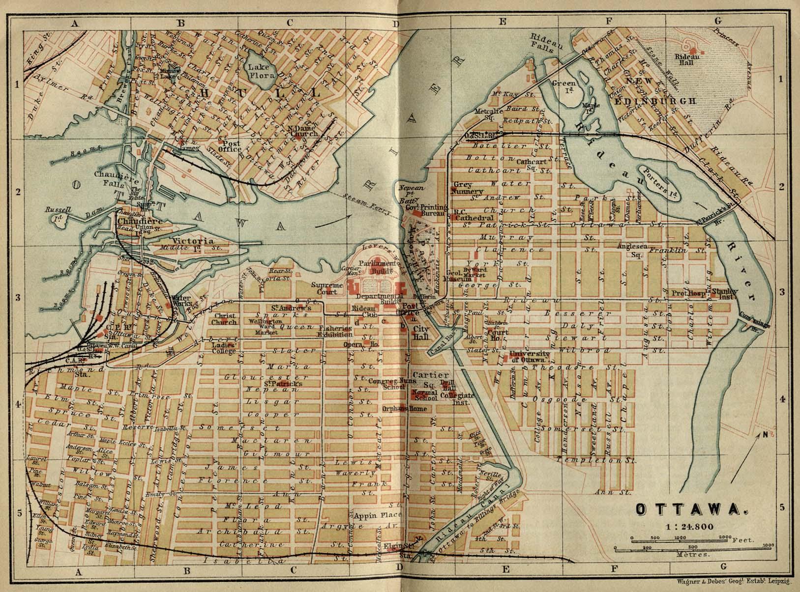 Mapa de la Ciudad de Ottawa, Ontario, Canadá 1894