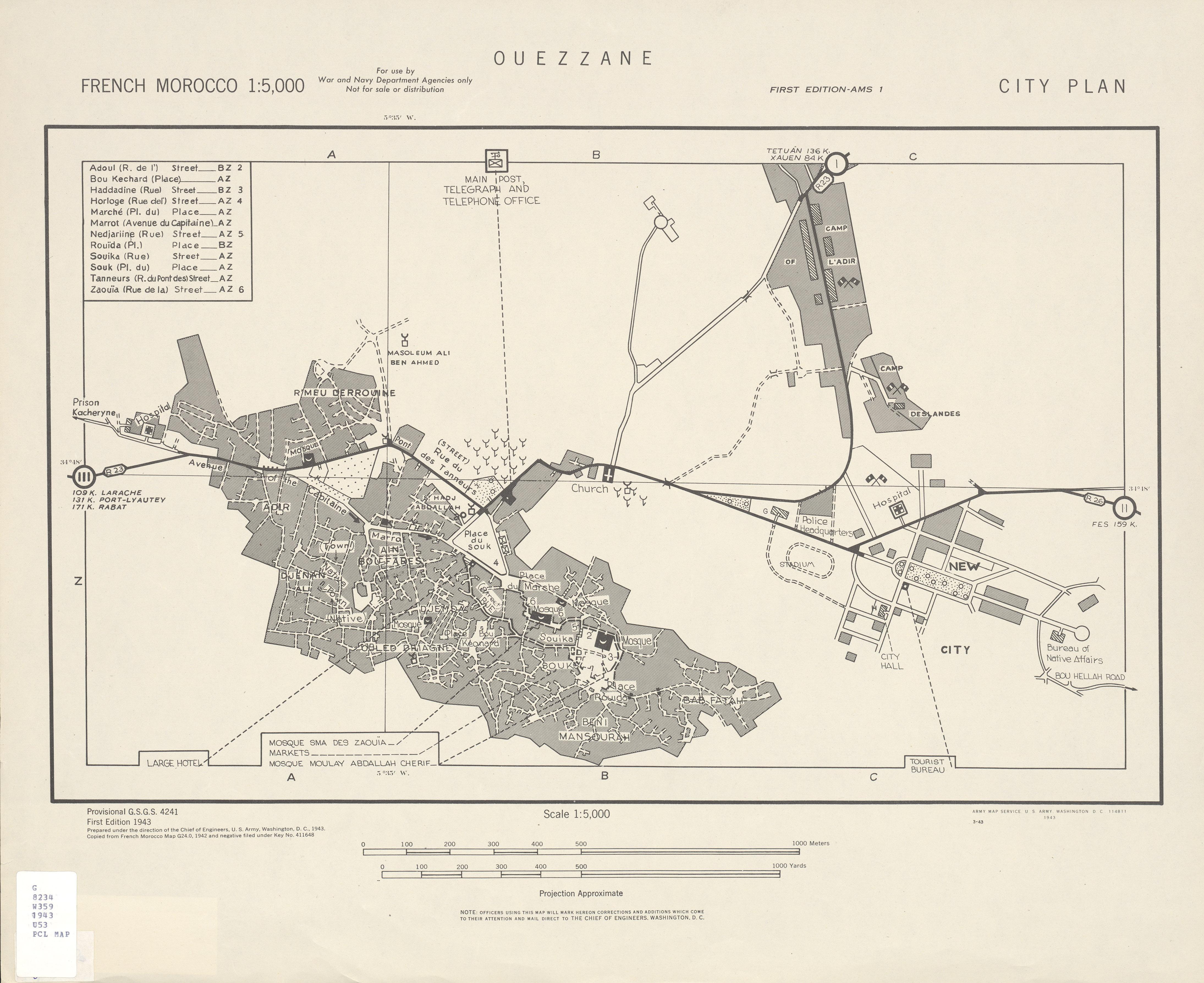Ouezzane City Map, Morocco 1943