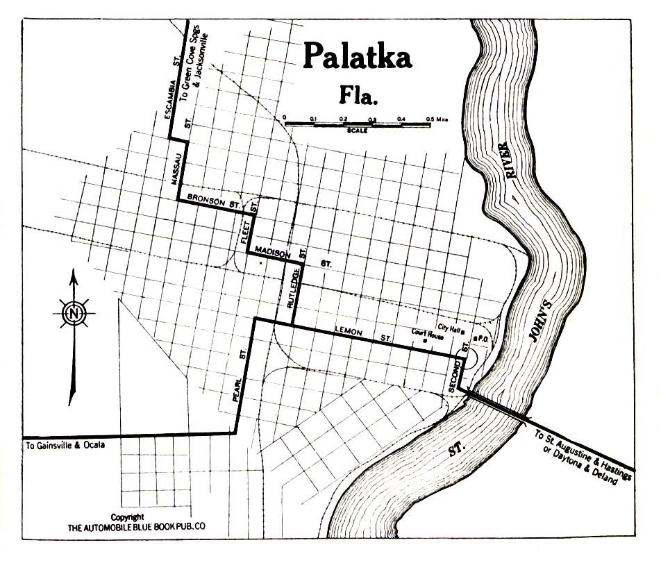 Palatka City Map, Florida, United States 1919
