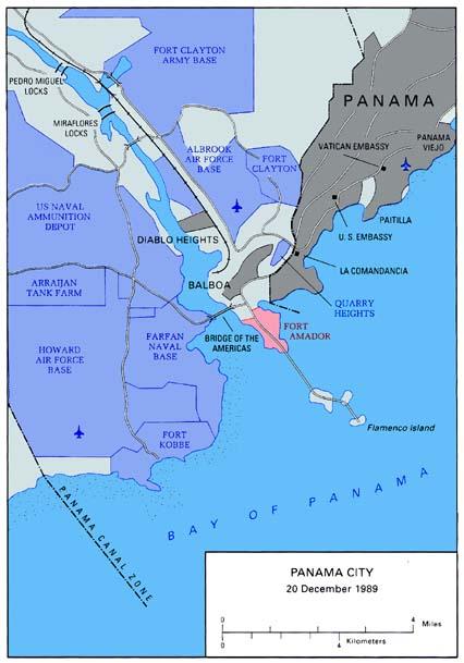 Mapa de la Ciudad de Panamá, 20 Diciembre 1989