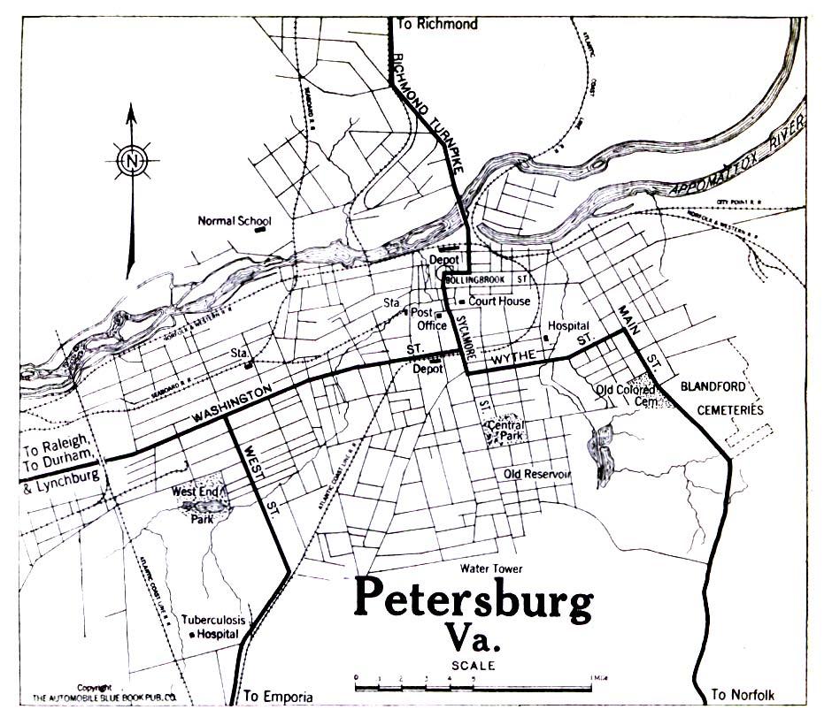 Mapa de la Ciudad de Petersburg, Virginia, Estados Unidos 1919