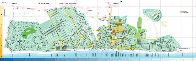 Mapa de la Ciudad de Pinamar, Prov. Buenos Aires, Argentina