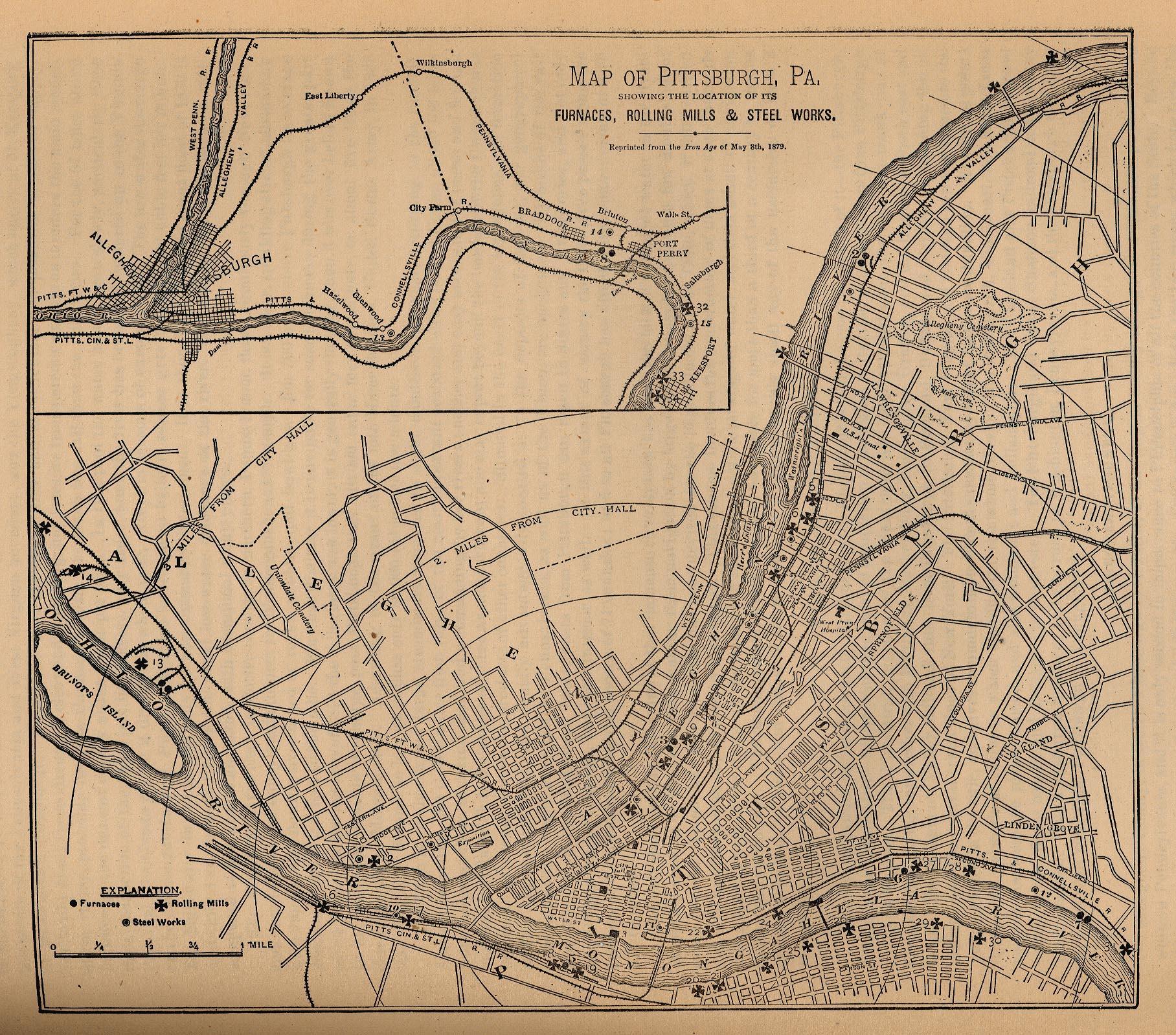 Mapa de la Ciudad de Pittsburgh, Pensilvania, Estados Unidos 1879