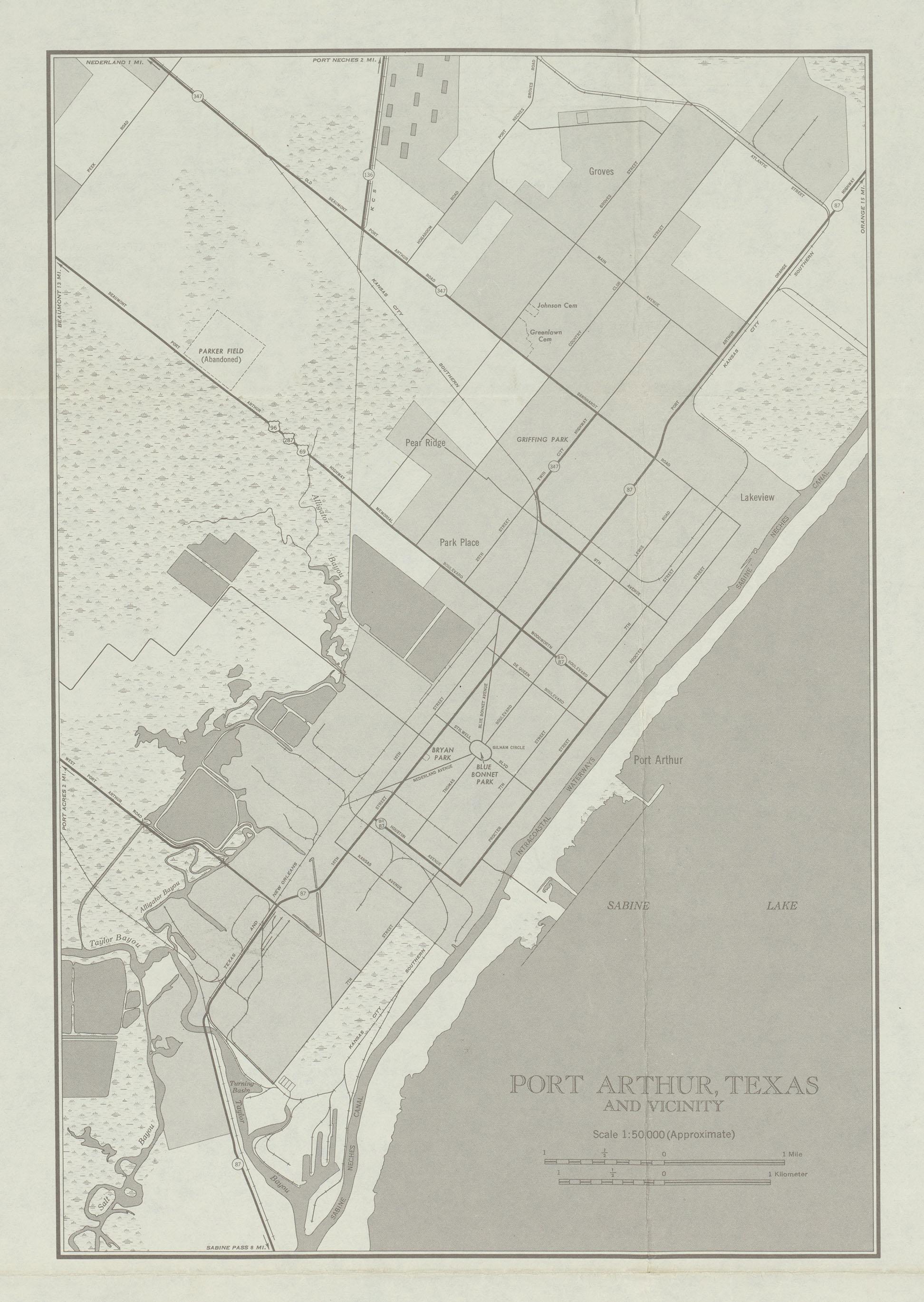 Mapa de la Ciudad de Port Arthur y Cercanías, Texas, Estados Unidos 1950