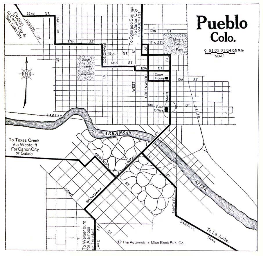 Mapa de la Ciudad de Pueblo, Colorado, Estados Unidos 1920