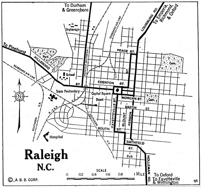 Raleigh City Map, North Carolina, United States 1920