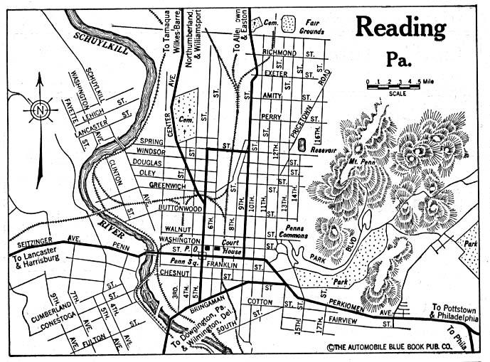 Mapa de la Ciudad de Reading, Pensilvania, Estados Unidos 1920