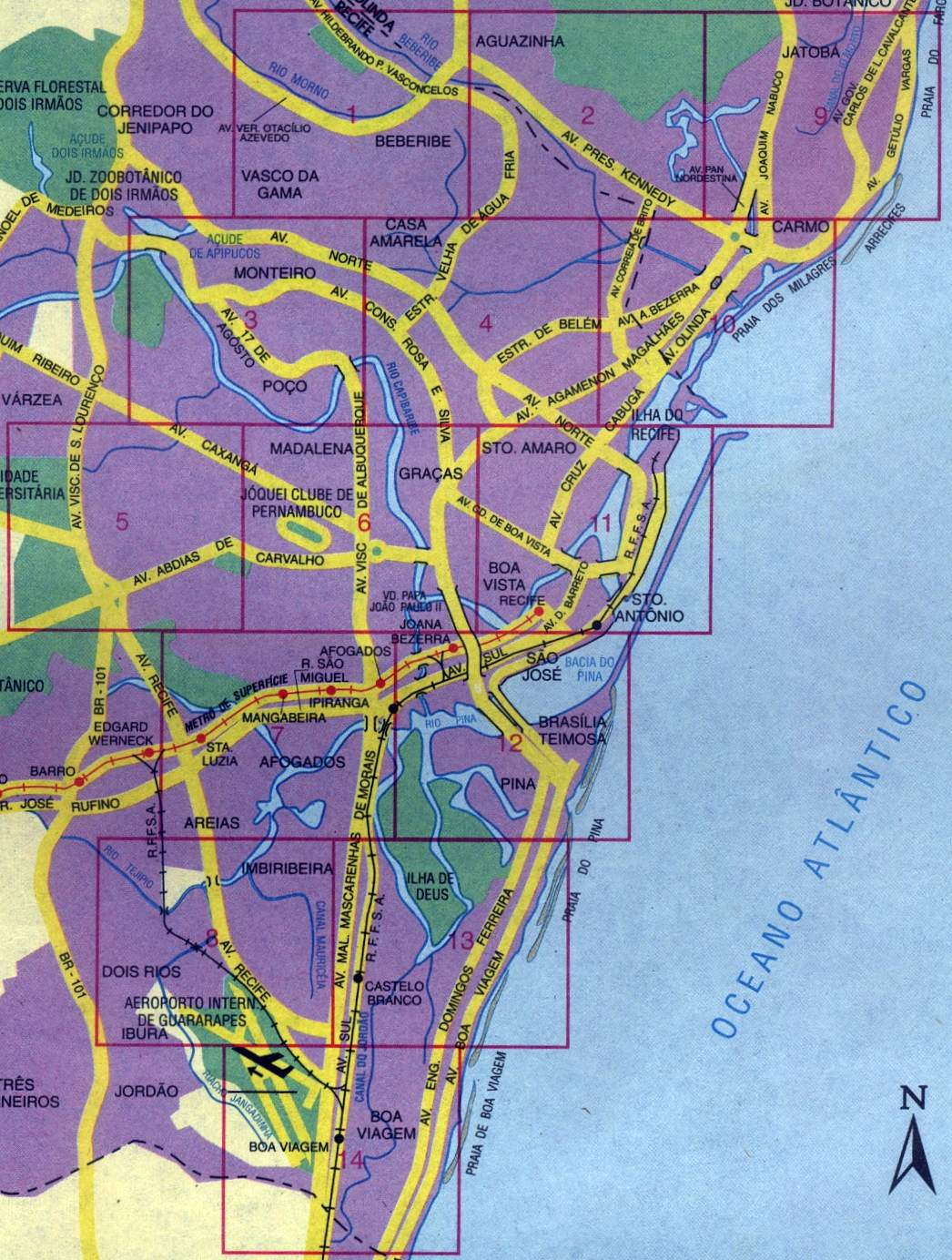 Mapa de la Ciudad de Recife, Brasil