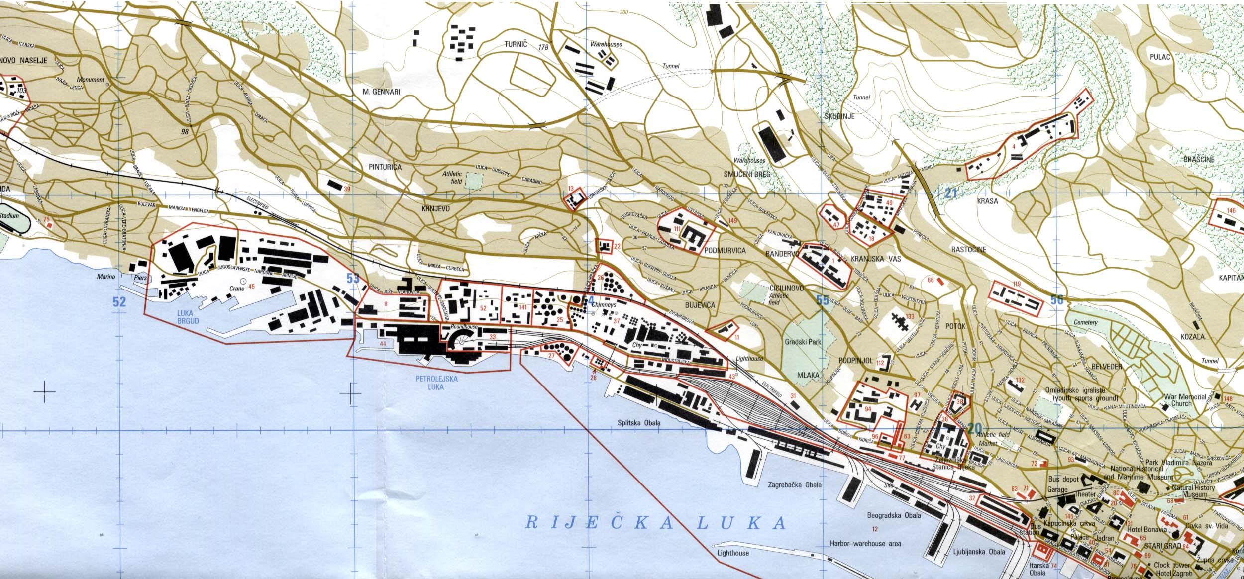 Mapa de la Ciudad de Rijeka, Croacia