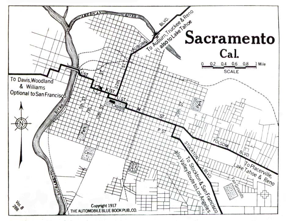 Sacramento City Map, California, United States 1917