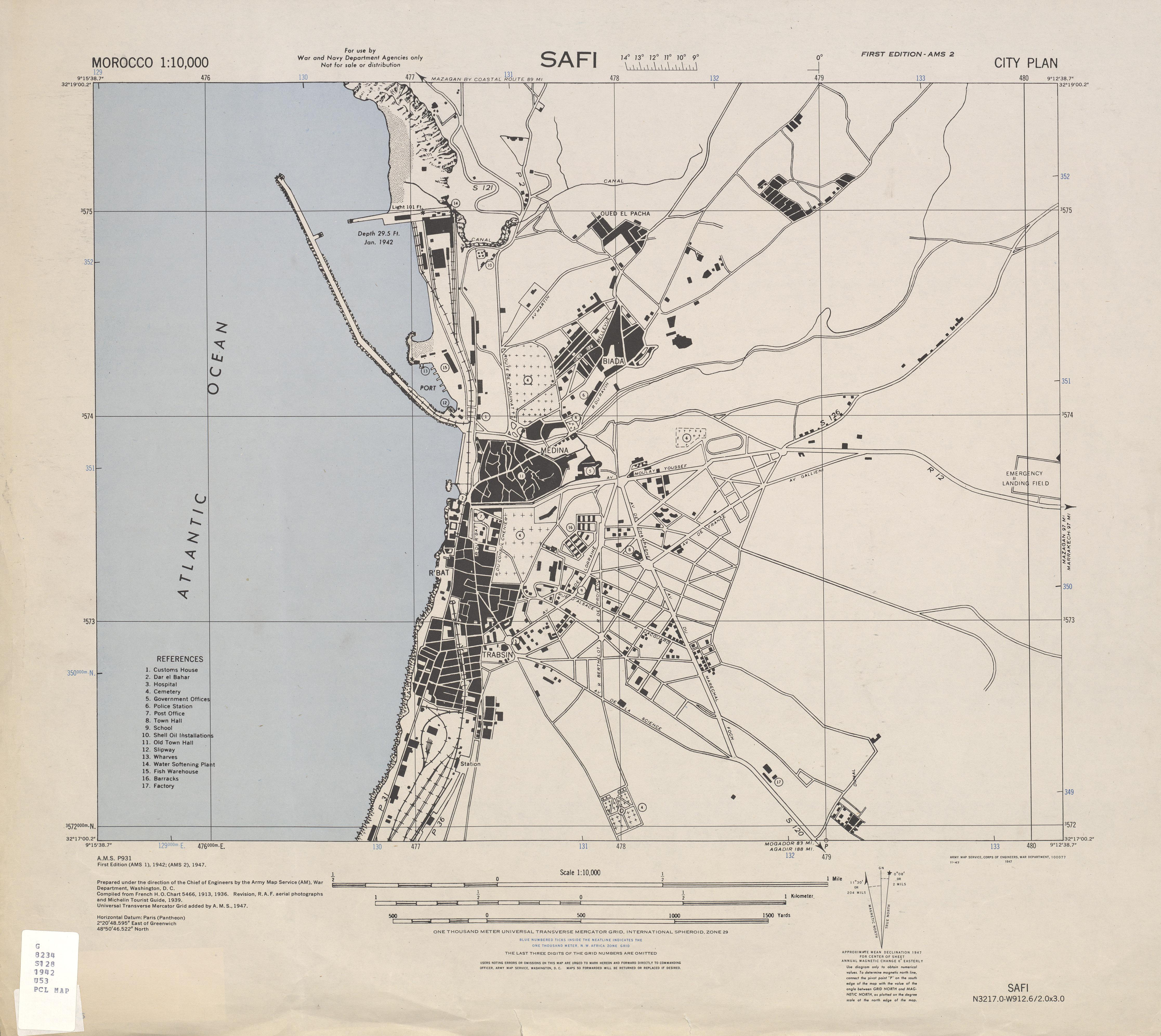 Mapa de la Ciudad de Safi, Marruecos 1947