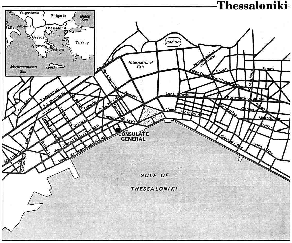 Mapa de la Ciudad de Salónica, Grecia