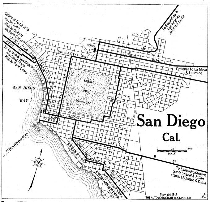 Mapa de la Ciudad de San Diego, California, Estados Unidos 1917
