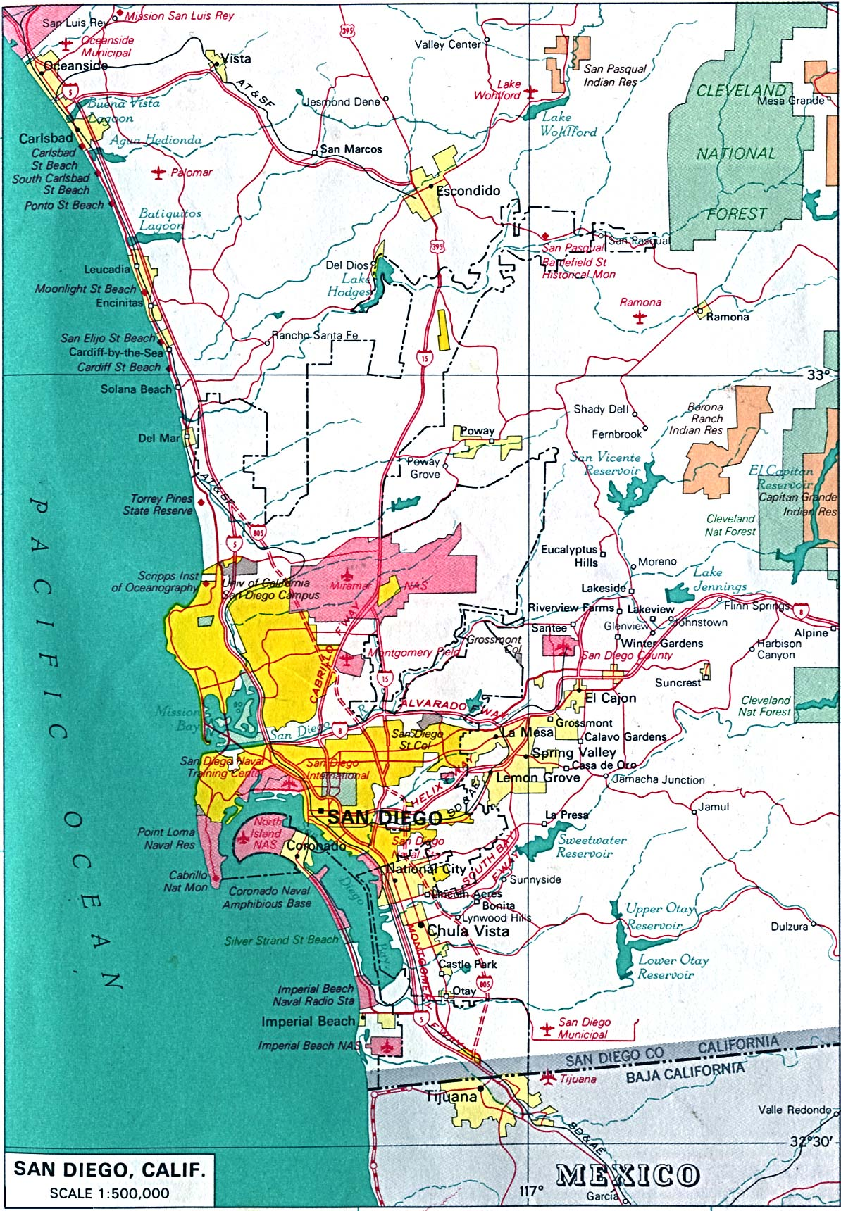 Mapa de la Ciudad de San Diego, California, Estados Unidos