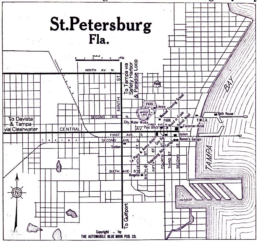 Saint Petersburg City Map, Florida, United States 1919