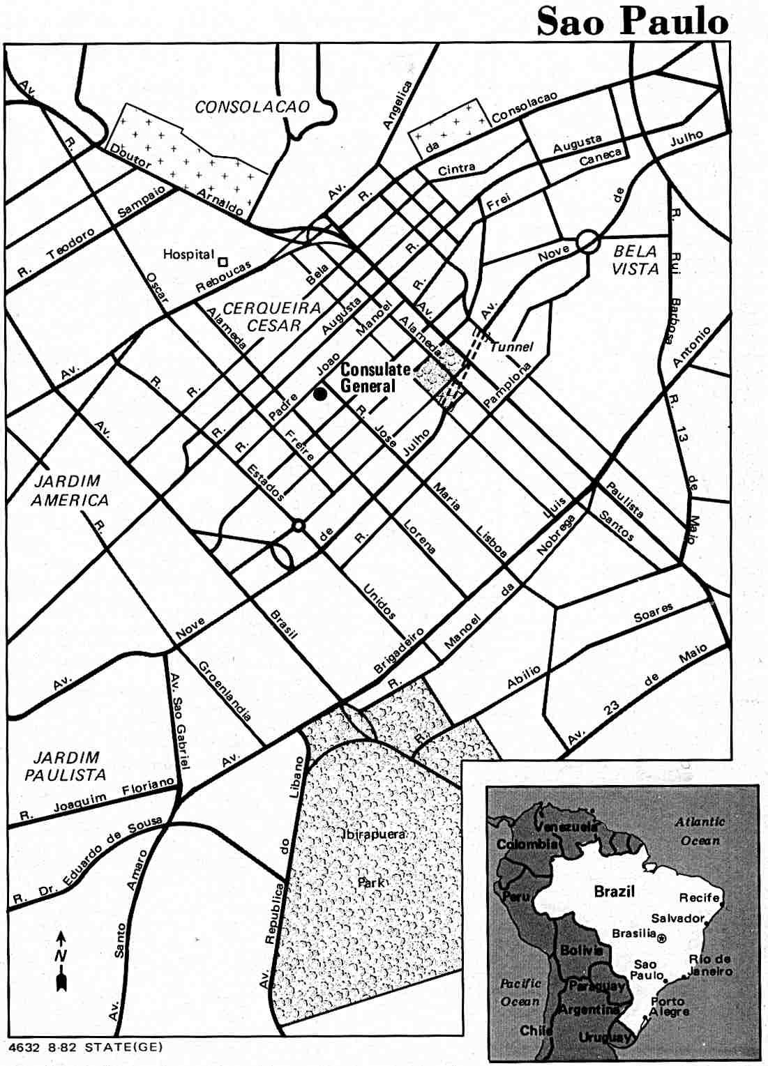 Mapa de la Ciudad de São Paulo, Brasil