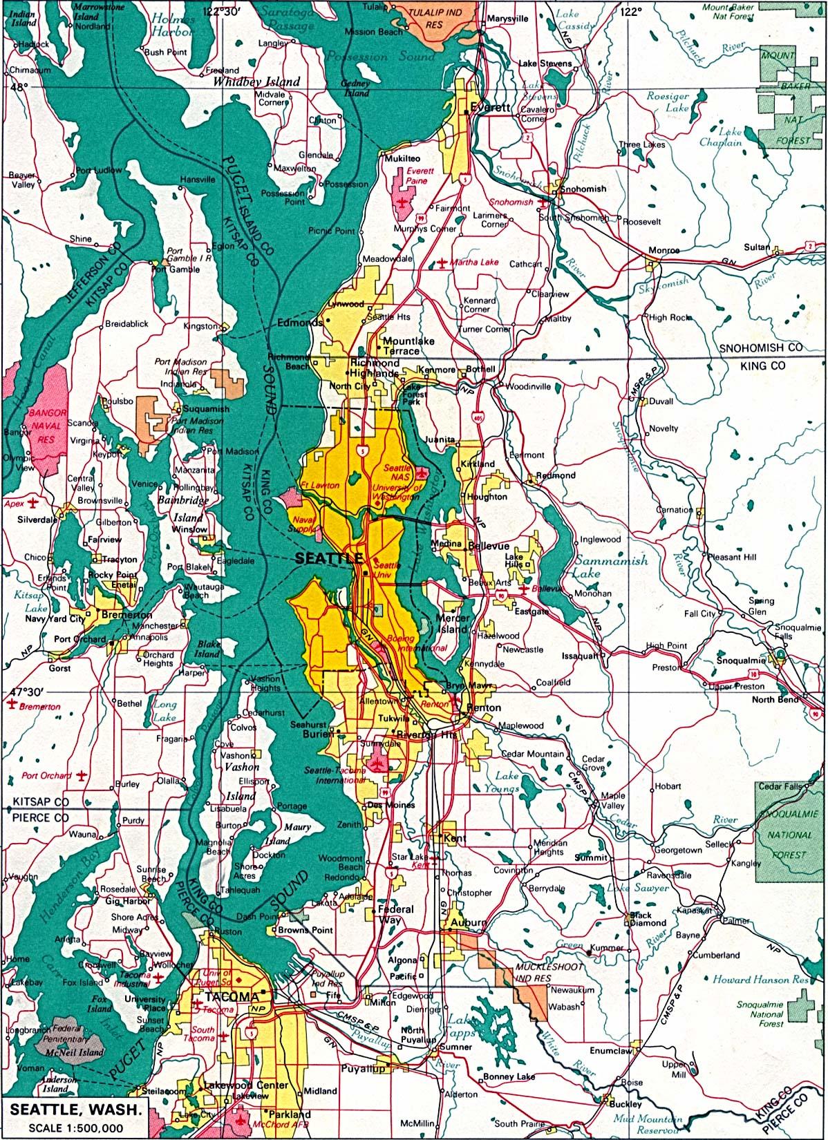 Mapa de la Ciudad de Seattle, Washington, Estados Unidos