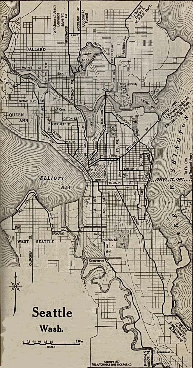 Mapa de la Ciudad de Seattle, Washington, Estados Unidos 1917