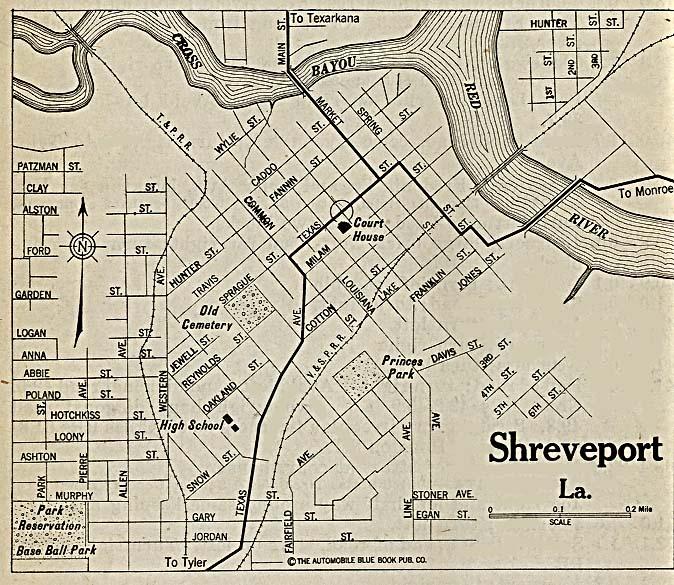Shreveport City Map, Louisiana, United States 1920